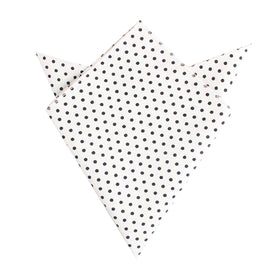 White with Black Polkadot Cotton Pocket Square