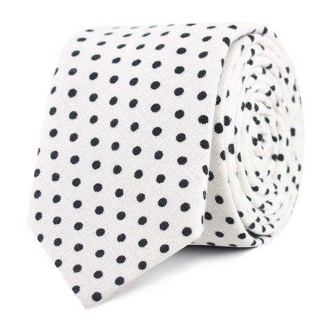 White with Black Polkadot Cotton Skinny Tie
