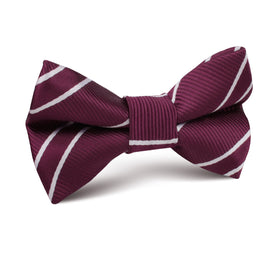 Wine Burgundy Double Stripe Kids Bow Tie