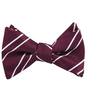 Wine Burgundy Double Stripe Self Bow Tie
