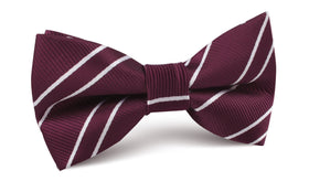 Wine Burgundy Double Stripe Bow Tie