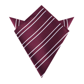 Wine Burgundy Double Stripe Pocket Square