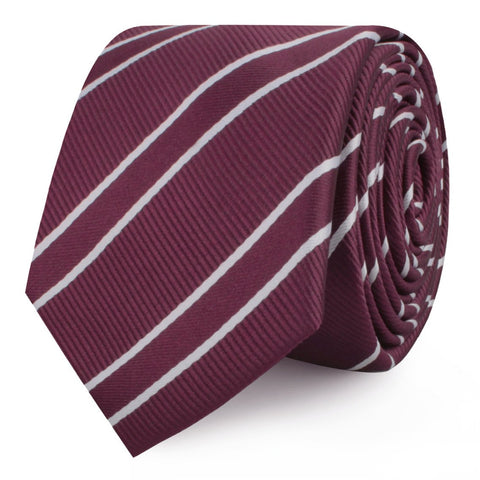 Wine Burgundy Double Stripe Skinny Tie