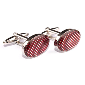 Wine Oval Polka Dot Cufflinks