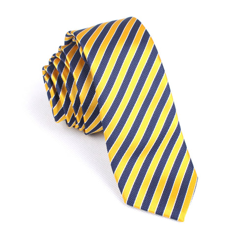 Yellow and Navy Blue Diagonal - Skinny Tie