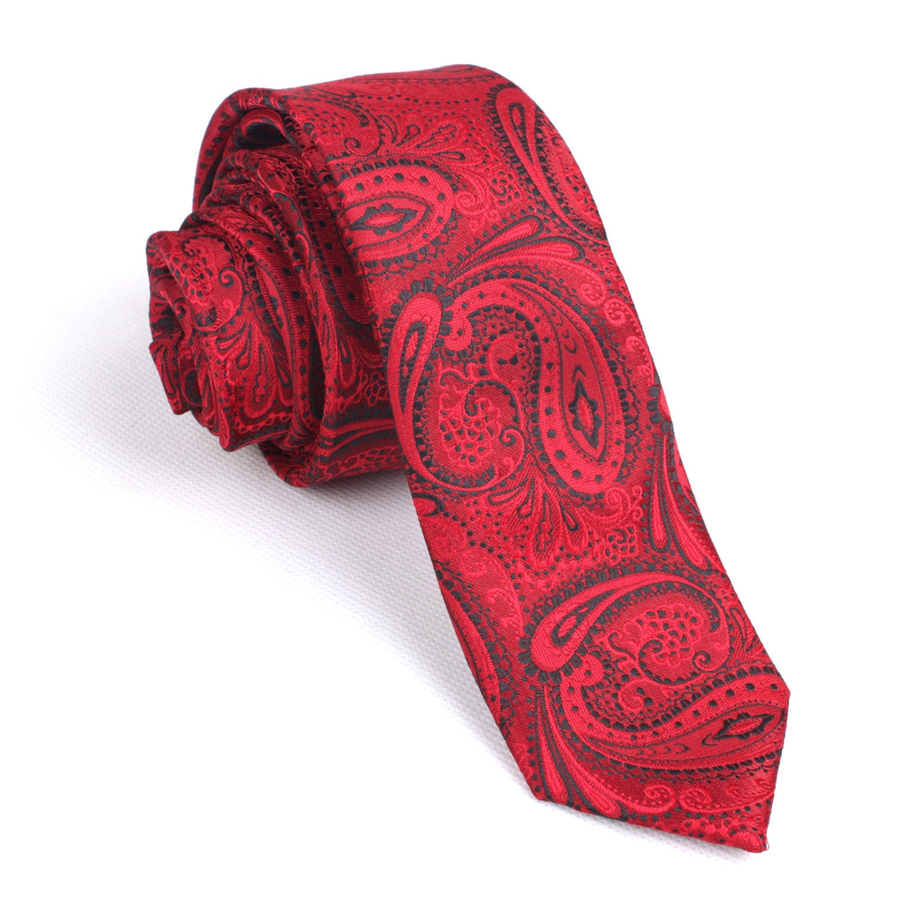 29a25d10fa Paisley Red Maroon with Black - Skinny Tie | Men Ties | Australia | OTAA