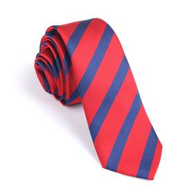 Red and Navy Blue Diagonal Skinny Tie