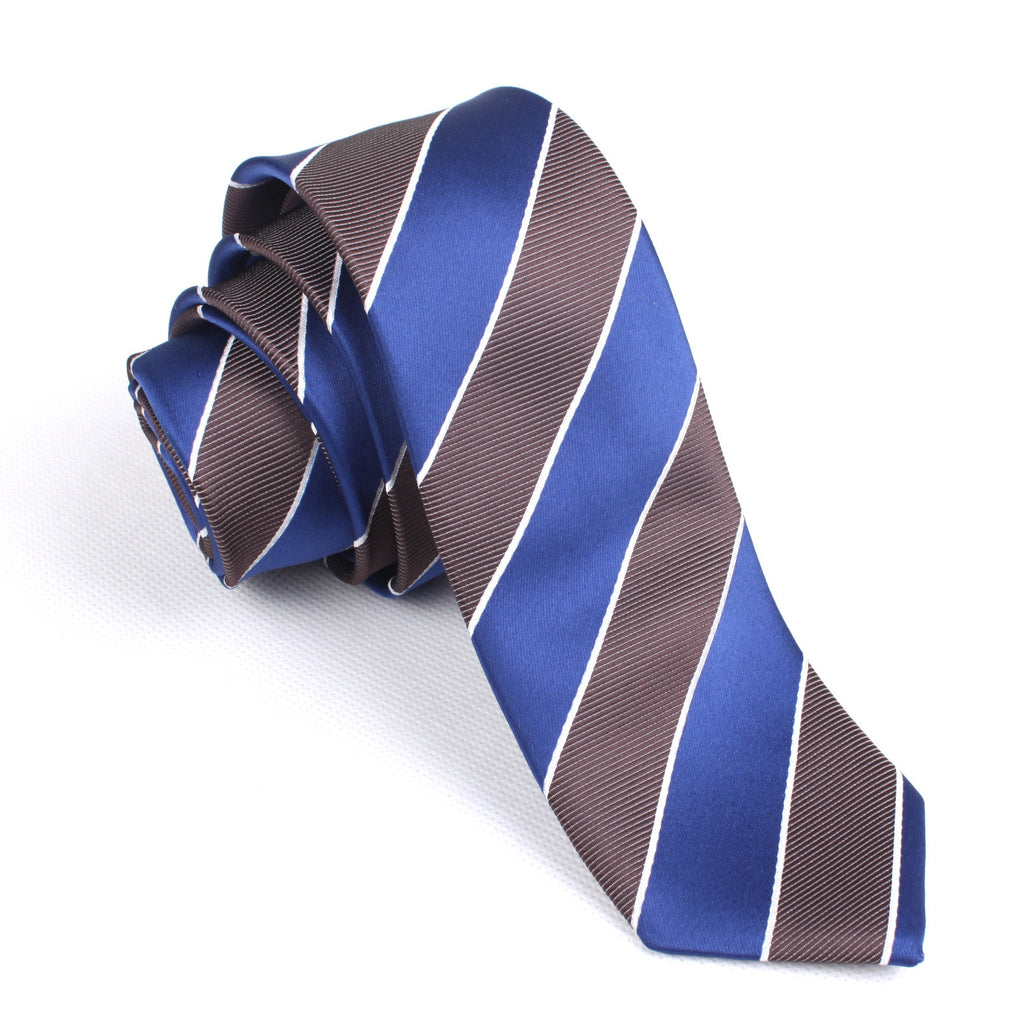 Navy Blue Black White Diagonal - Skinny Tie