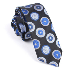 Black with Blue Circle Skinny Tie