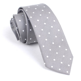 Grey with White Polka Dots Skinny Tie