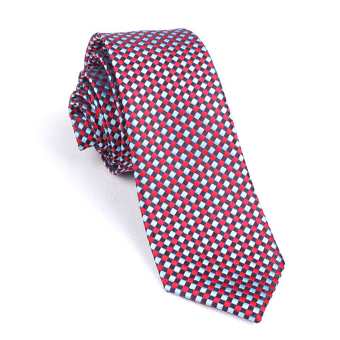 Navy and Light Blue Red Checkered - Skinny Tie