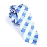 Sea and Light Blue White Checkered Skinny Tie