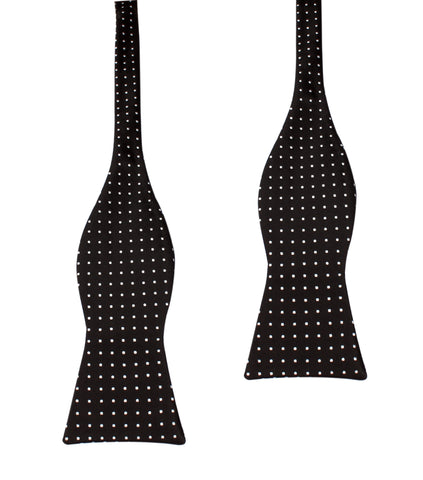 Black with Small White Polka Dots - Bow Tie (Untied)