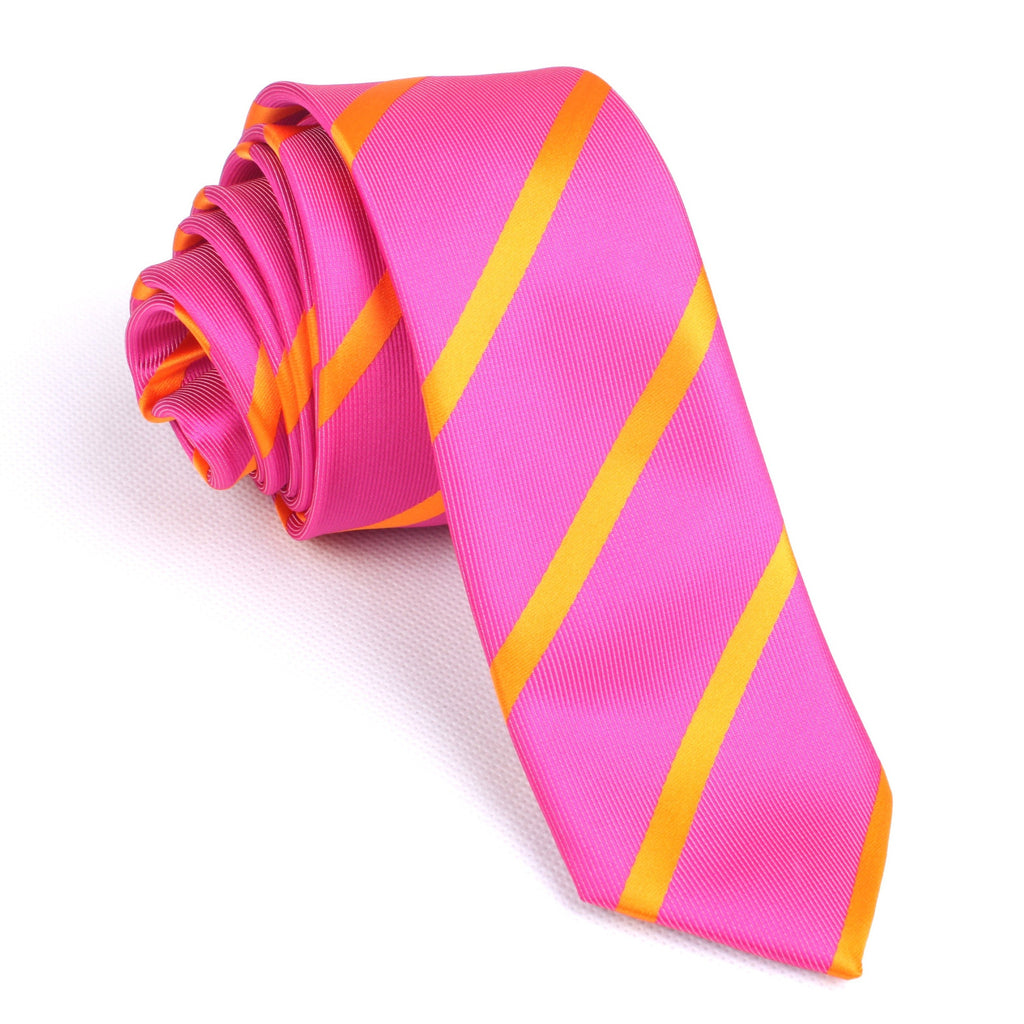 Hot Pink with Orange Diagonal - Skinny Tie