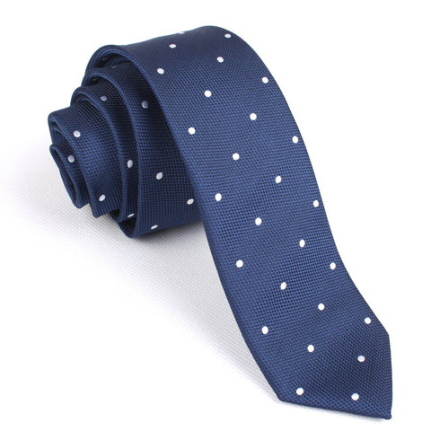 Navy Blue with White Polkadots - Skinny Tie