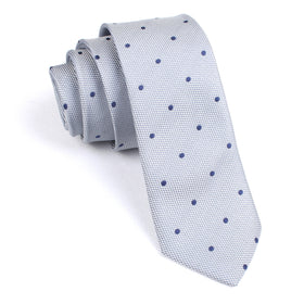 Grey with Navy Blue Polka Dots Skinny Tie
