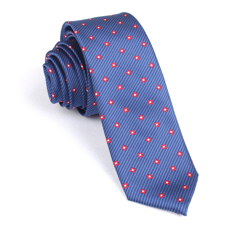 Navy Blue with Red Pattern Skinny Tie