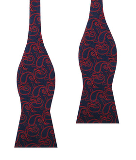 Yazd Red Paisley Self Bow Tie