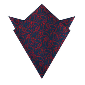 Yazd Red Paisley Pocket Square