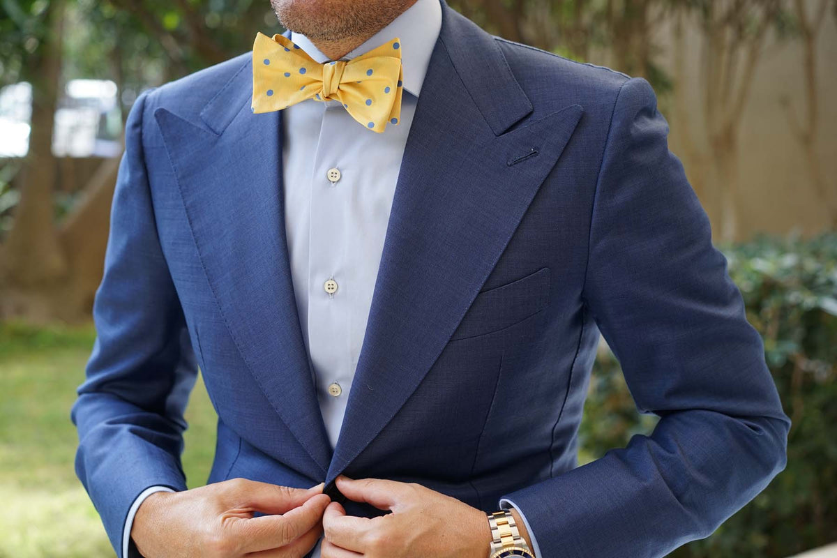 Yellow Bow Tie Untied with Light Blue Polka Dots