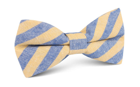 Yellow & Blue Bengal Linen Bow Tie