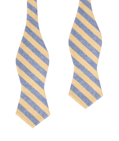 Yellow & Blue Bengal Linen Diamond Self Bow Tie