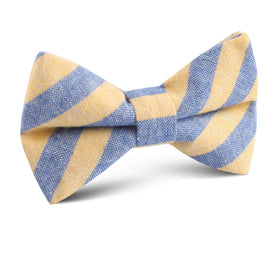 Yellow & Blue Bengal Linen Kids Bow Tie