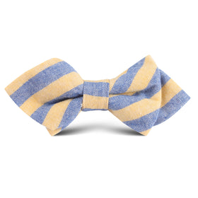 Yellow & Blue Bengal Linen Kids Diamond Bow Tie