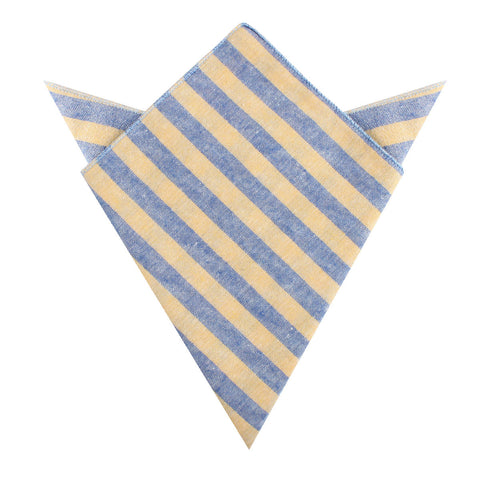 Yellow & Blue Bengal Linen Pocket Square