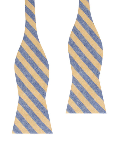 Yellow & Blue Bengal Linen Self Bow Tie