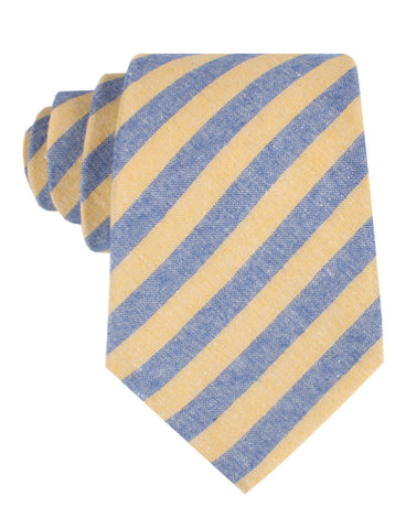 Yellow & Blue Bengal Linen Tie