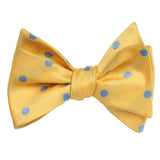 Yellow Bow Tie Untied with Light Blue Polka Dots Self tied knot by OTAA