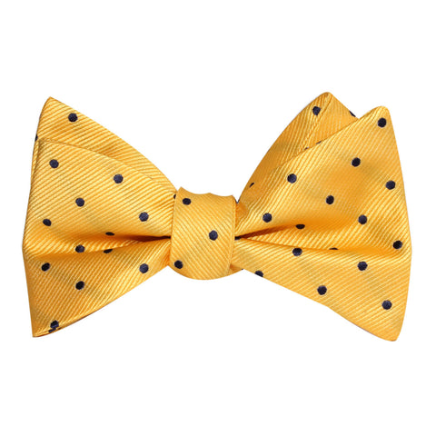 Yellow Bow Tie Untied with Polka Dots
