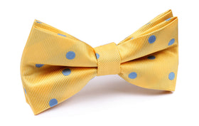 Yellow Bow Tie with Light Blue Polka Dots