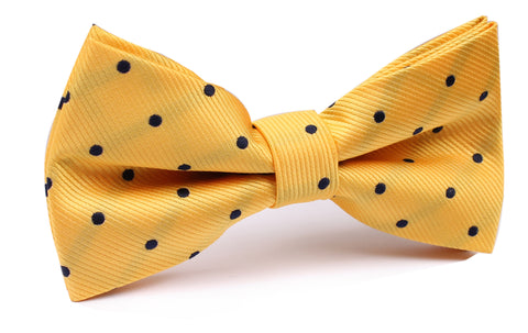Yellow Bow Tie with Navy Blue Polka Dots