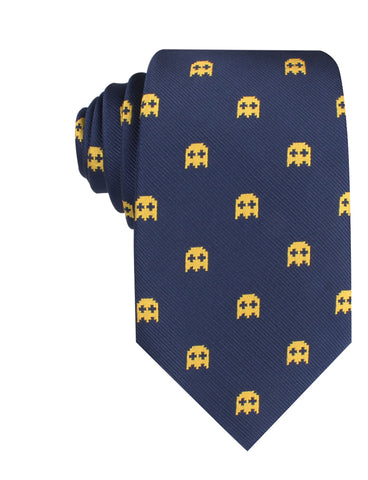 Yellow Ghost Pixel Necktie