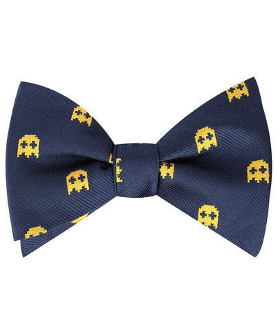 Yellow Ghost Pixel Self Bow Tie