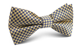 Yellow Houndstooth Bow Tie