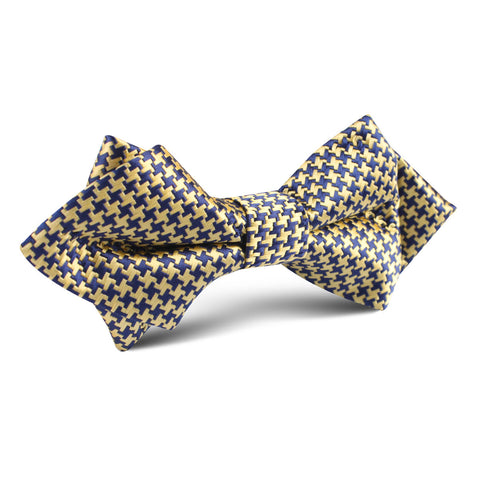 Yellow Houndstooth Diamond Bow Tie