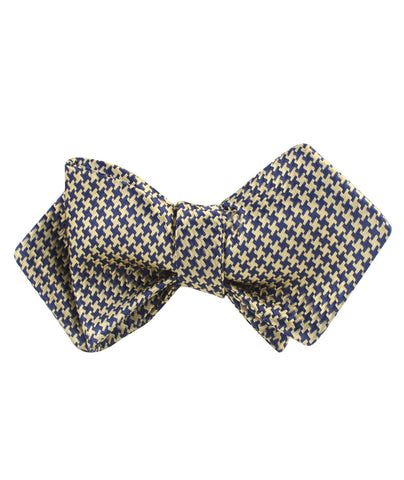 Yellow Houndstooth Diamond Self Bow Tie