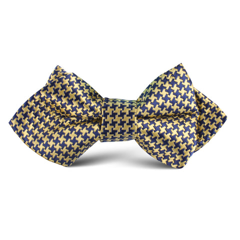 Yellow Houndstooth Kids Diamond Bow Tie