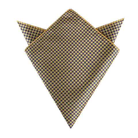 Yellow Houndstooth Pocket Square
