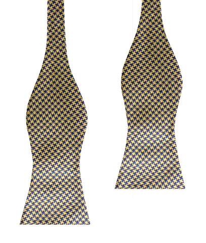 Yellow Houndstooth Self Bow Tie
