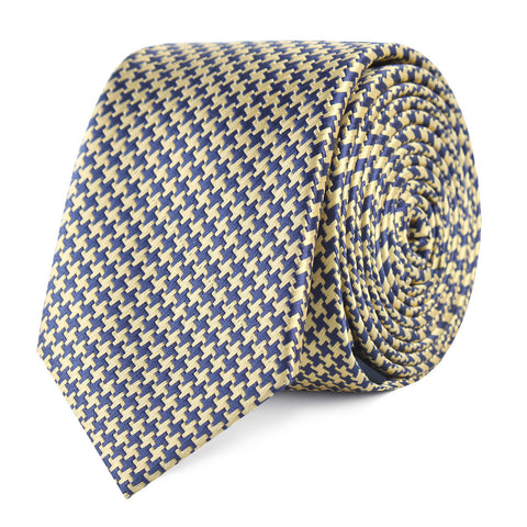Yellow Houndstooth Skinny Tie