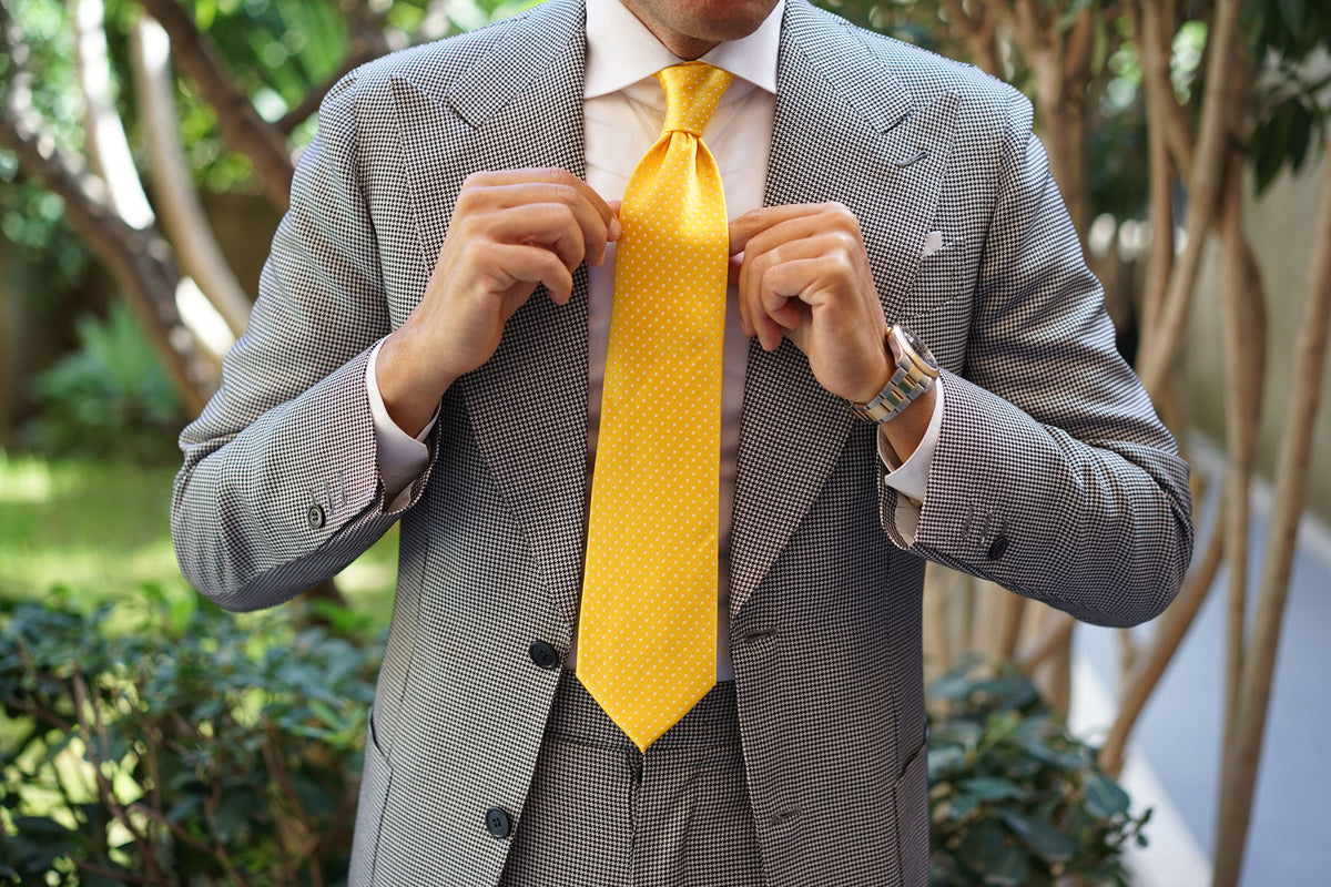 Yellow Mini Polka Dots Necktie