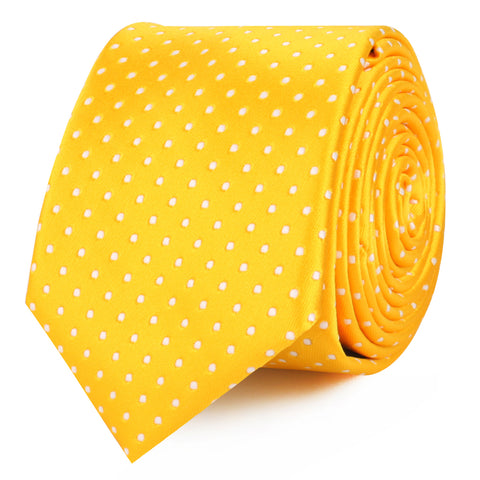 Yellow Mini Polka Dots Skinny Tie