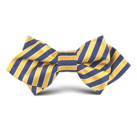 Yellow & Navy Blue Diagonal Kids Diamond Bow Tie