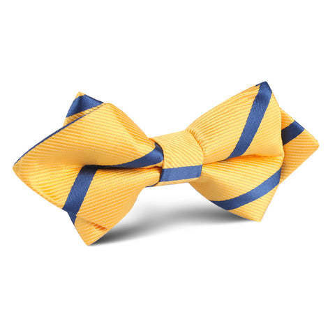 Yellow Pencil Stripe Diamond Bow Tie