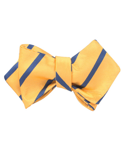 Yellow Pencil Stripe Diamond Self Bow Tie