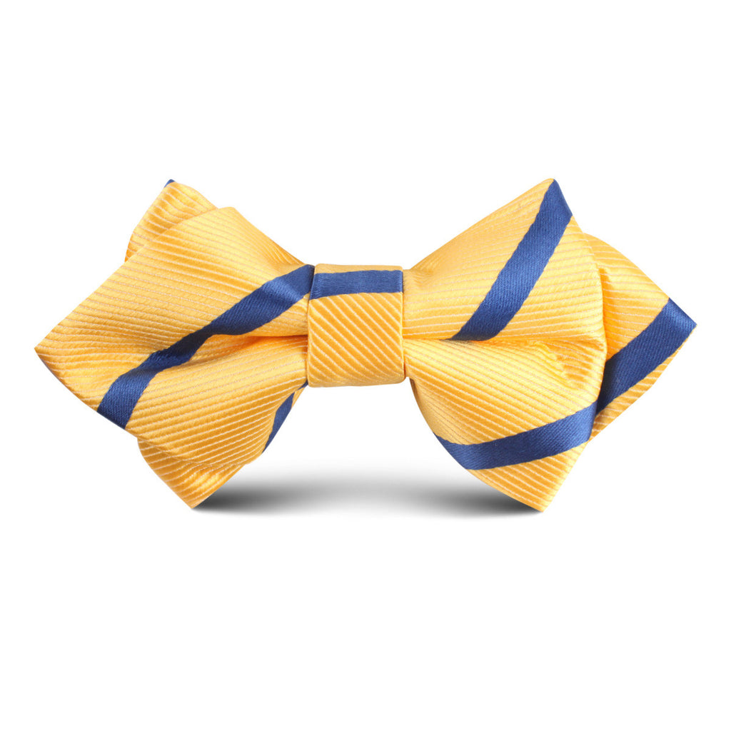 Yellow Pencil Stripe Kids Diamond Bow Tie
